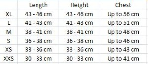 Measurements cm
